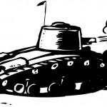 טנק בפעולה לצביעה