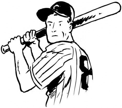 שחקן בייסבול לצביעה