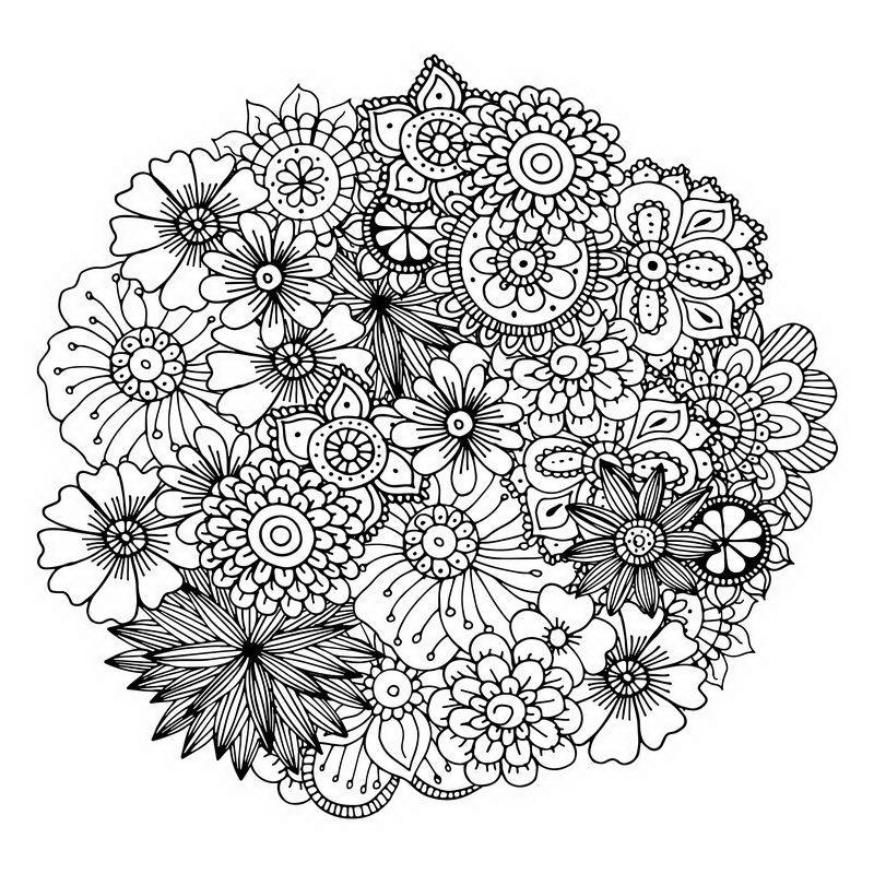 מנדלות פרחים לצביעה