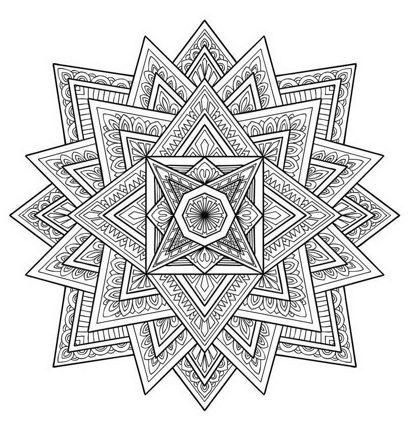 פרח סימטרי של מנדלה לצביעה