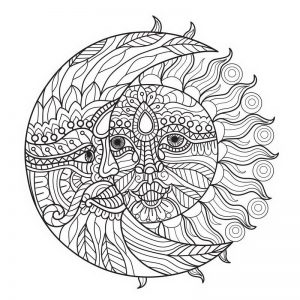 שמש וירח מנדלה לצביעה
