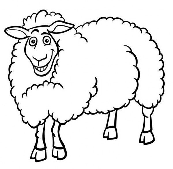 דף צביעה של כבשה מחייכת