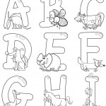 אותיות באנגלית עם חיות לצביעה