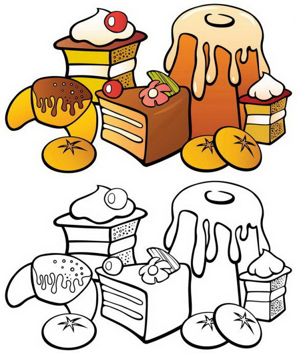 בואו לצבוע בקלות דפי צביעה להורדה להם מצורפים הוראות צביעה של עוגות מדהימות.