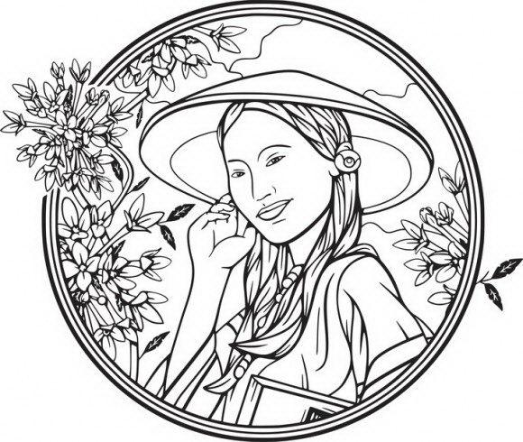 דפי צביעה לבנות של נסיכה חלומית ומרהיבה עטופה במסגרת פרחים אותה תוכלו לצבוע בהנאה רבה.