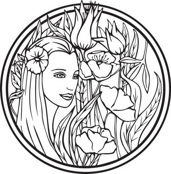 דפי צביעה פיות של פייה קסומה ויפיפייה המוקפת פרחים אותה ניתן לצבוע בשלל צבעי הקשת.