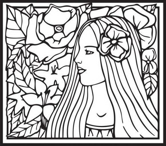 בואו לצבוע בהנאה רבה פייה קסומה עם שיער מרהיב ביופיו מקושט בפרח יפיפה.