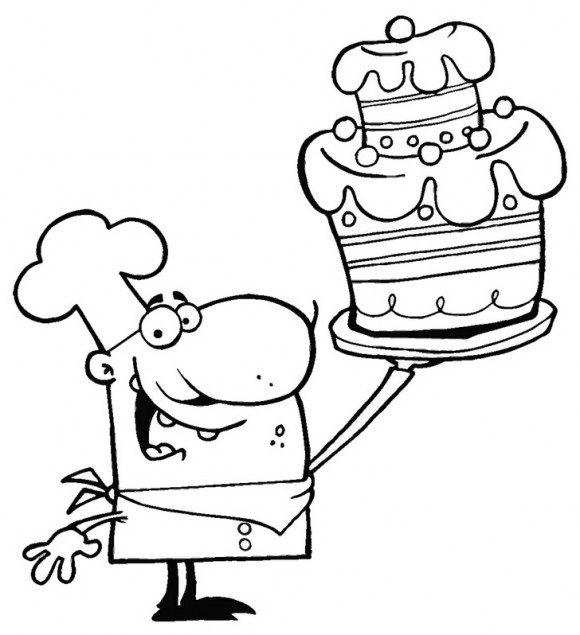 דפי צביעה להדפסה של טבח מקסים עם עוגה ענקית אותו תוכלו לצבוע בשלל צבעים.