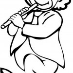 ליצן דף צביעה מנגן בחליל ופוצח לו בריקוד