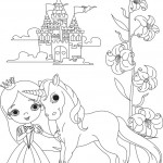 נסיכה יפה עם סוסון וטירה