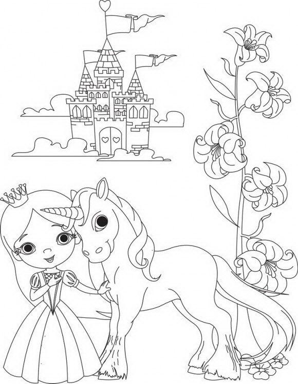 דפי צביעה מדהימים של נסיכה עם סוס מרהיב וברקע טירה קסומה לצביעה מהנה.