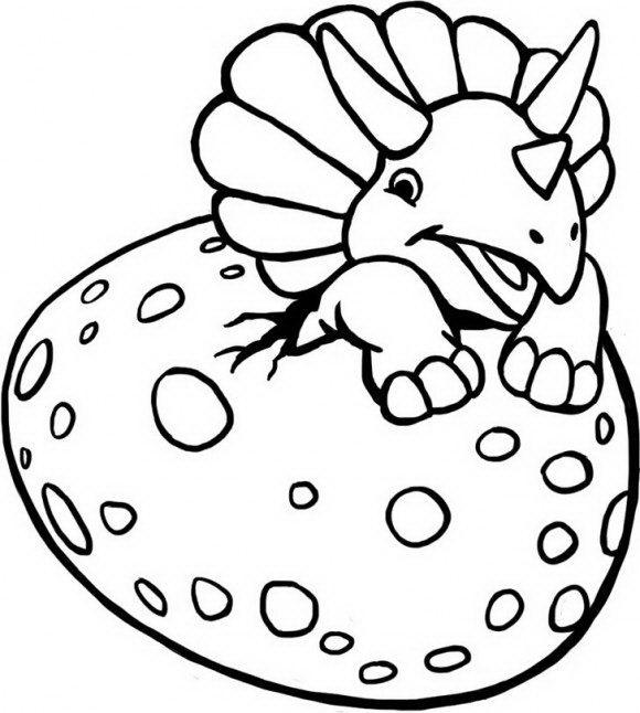 בואו לצבוע בהנאה דינוזאור תינוק מתוק שבוקע מהביצה שלו ועוד מגוון דפי צביעה דינוזאורים.