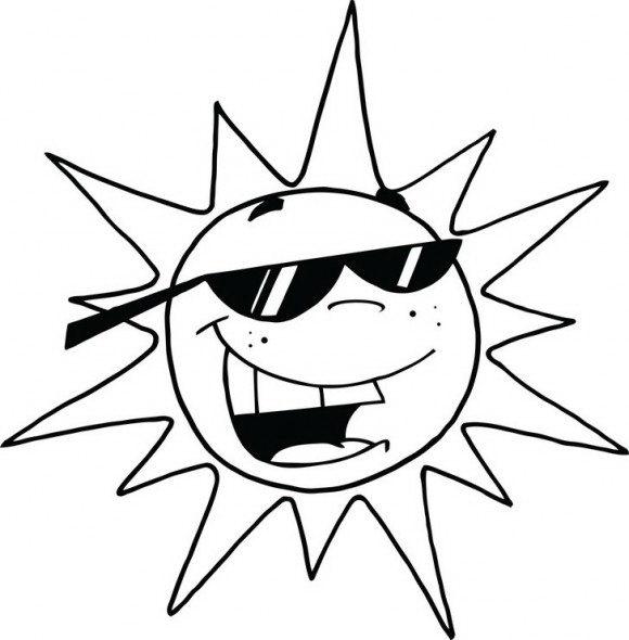 דפי צביעה לקיץ שניתן לצבוע בכיף ובהנאה עם שמש חייכנית ומגניבה שחובשת משקפי שמש.