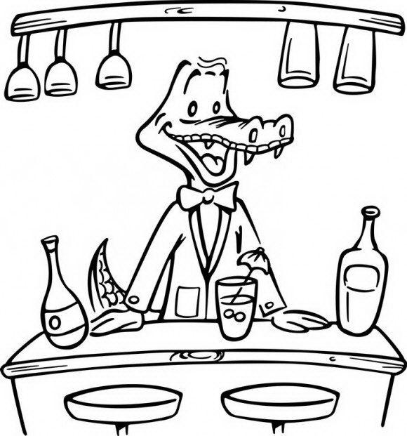 ציורים לילדים של תנין חמוד וחברותי שמבשל לו בשמחה ומזמין אתכם לצבוע אותו.