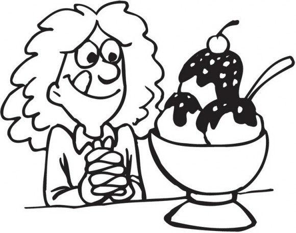 דפי צביעה אוכל עם ילדה מקסימה וחייכנית שעומדת לאכול גלידה טעימה וגדולה אותה תוכלו לצבוע בכיף.