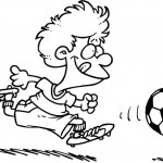 דפי צביעה כדורגל עם ילד קטן וחמוד