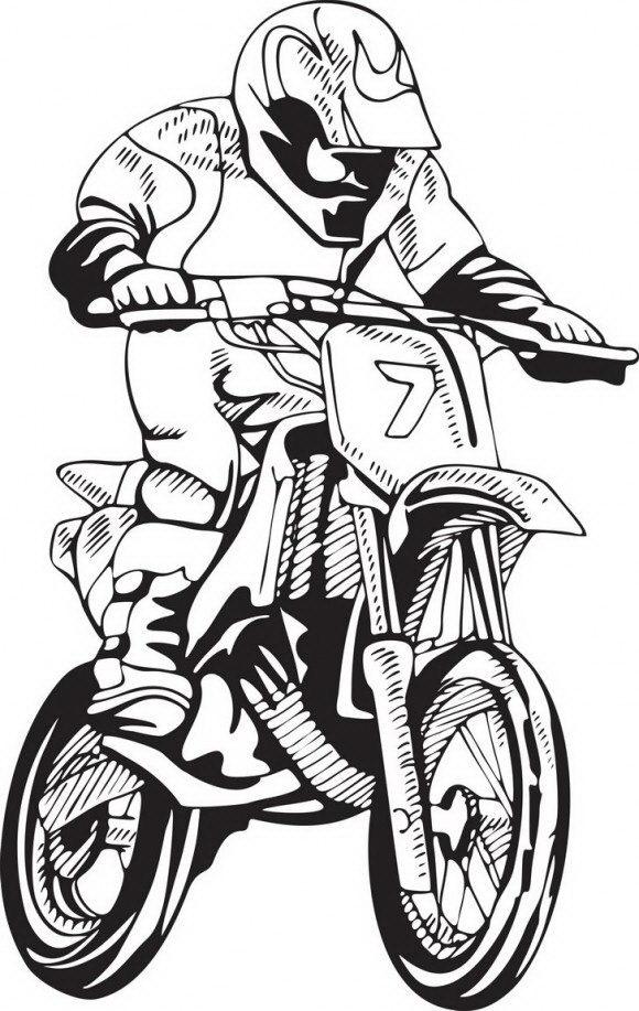 דפי צביעה להדפסה של אופנוע יפיפה ועליו רוכב במהירות אדם אותם תוכלו לצבוע בכיף.