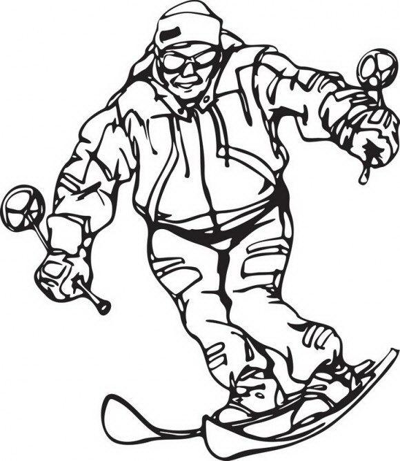 מגוון דפי צביעה לחורף של איש העושה סקי במדרון הר מושלג אותו תוכלו לצבוע בהנאה.