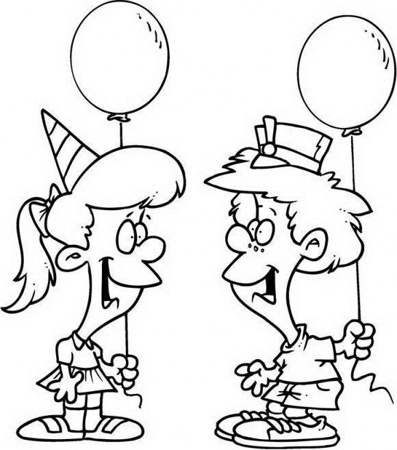 בואו לצבוע דפי צביעה ליום הולדת עם שני ילדים חמודים החוגגים יום הולדת עם בלונים.