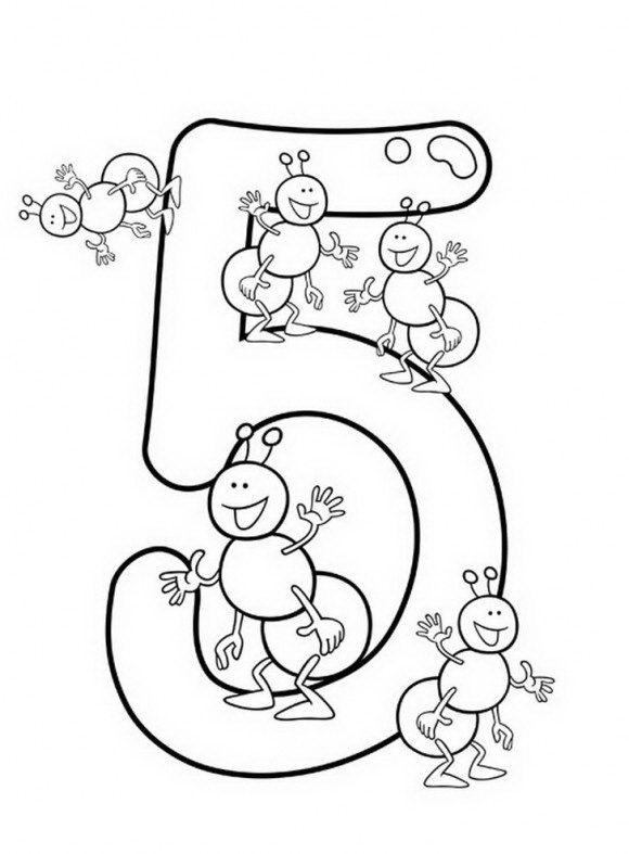 בואו ללמוד בקלות את הספרה 5 עם 5 נמלים מקסימות ועוד המון דפי עבודה לילדים.