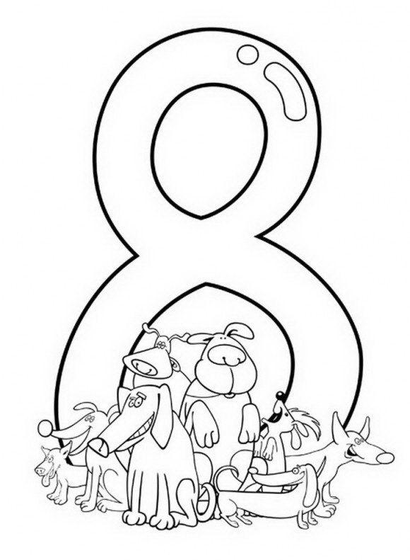 דפי עבודה לילדים אשר חושפים ספרות ואותיות אותן לצבוע בכיף כמו הספרה שמונה.